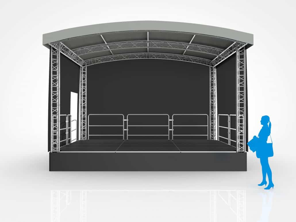 6 meter x 4 meter arc roof stage hire